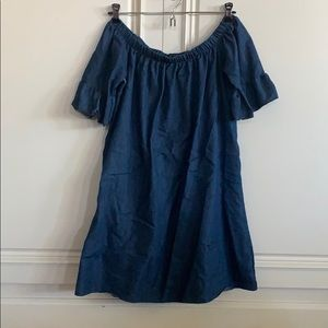 Off the Shoulders Jean Dress